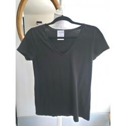 T-shirt en V noir T XS Jacqueline de Yong