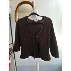 Gilet marron aux froufrous T 3 Scottage