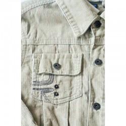 Détail de la marque du Blouson en velours beige grisé 6 ans Okaïdi