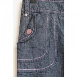 Détail poches avant du Jeans foncé aux surpiqûres colorées 10 ans Tape à l' Oeil