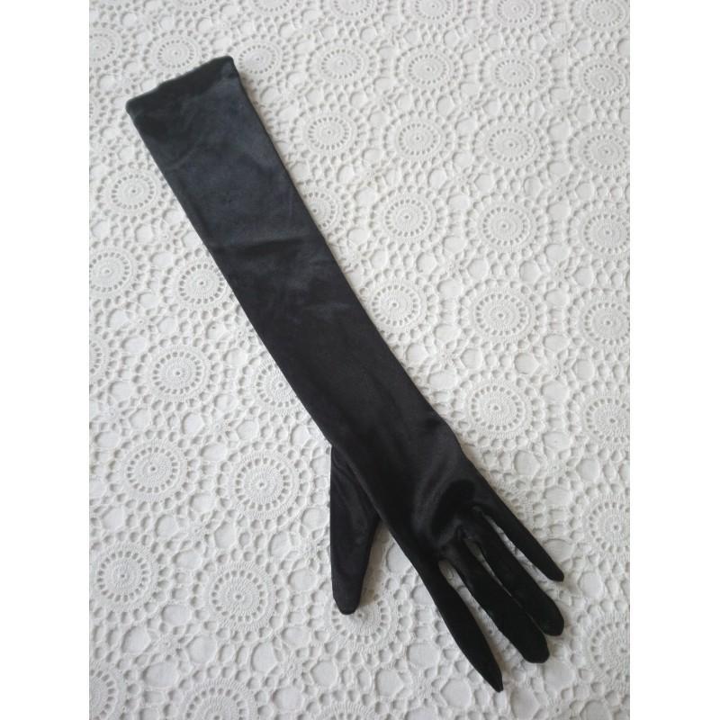 Gant long noir satiné Manoukian
