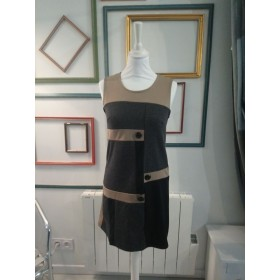 Robe chasuble géométrique grise et marron T1 Agatha Velmont