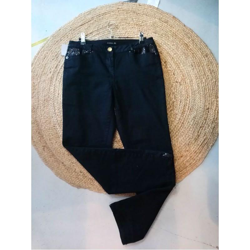 Pantalon noir détails en sequins T38 Bréal