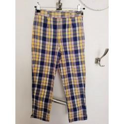Pantalon fin écossais Bleu...