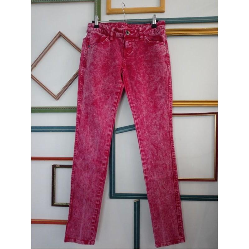 Jeans rose vif used T 27 FishBone