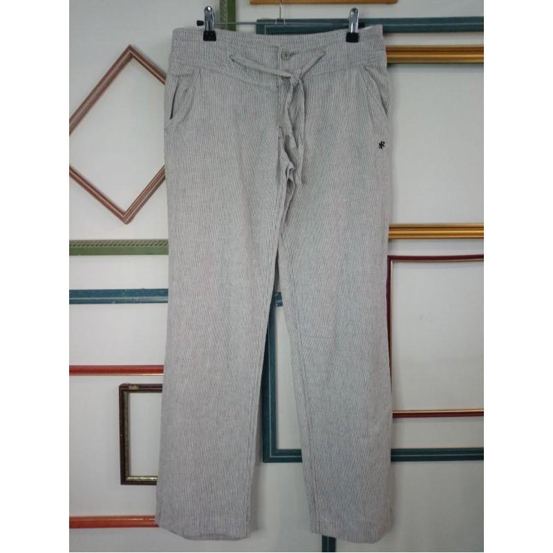 Pantalon 7/8 blanc rayé gris T 26 Oxbow