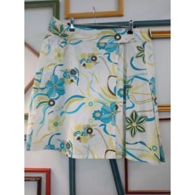 Jupe porte-feuille aux fleurs turquoise et vert anis T 46 MS Mode
