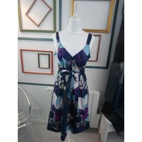 Robe bleu marine fleurie T 40 Esprit