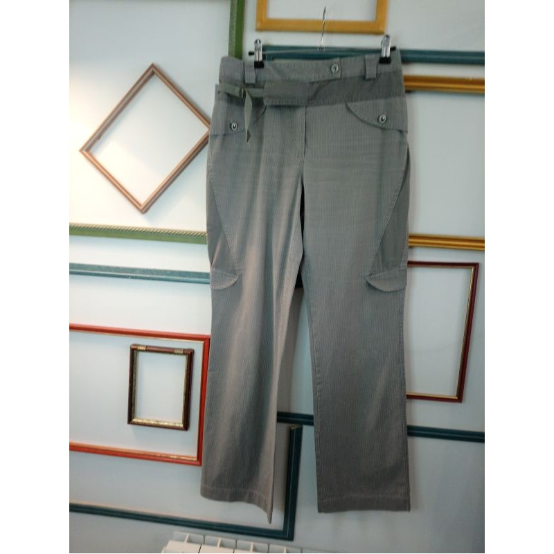 Pantalon gris rayé T 38 Eva Kayan