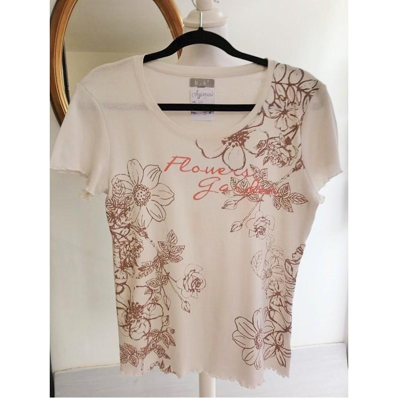 T-shirt blanc cassé fleuri T 40 BnK