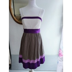 Robe de cérémonie grise et violette T S Manoukian